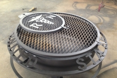 Fire pit with custom logo welded metal