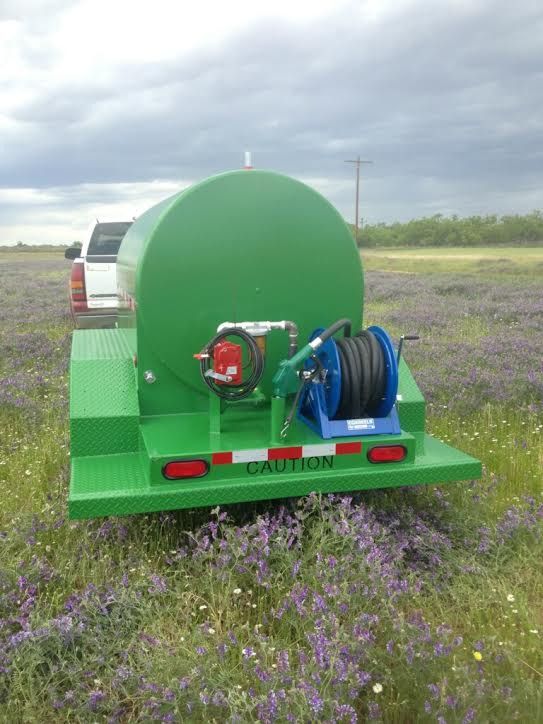 hose reel and fuel pump on tank