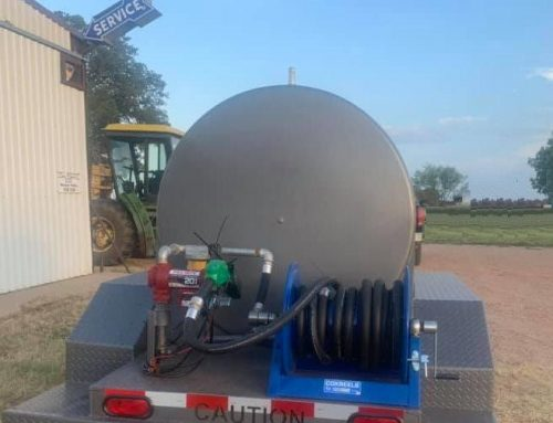 Ready-to-ship 500 gallon single wall fuel tank and trailer, includes 35 foot hose reel